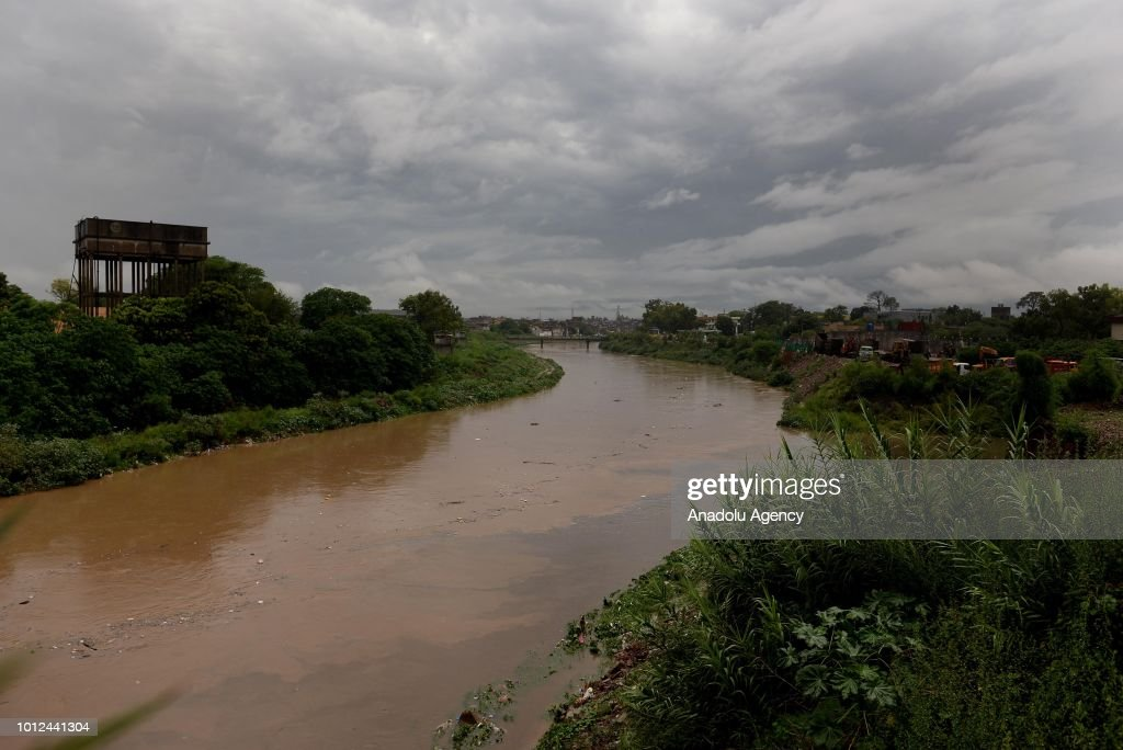 A view of the flooded main stream after heavy monsoon rain hits the city of Rawalpindi Pakistan on August 07 2018 Pakistani army soldiers have been...