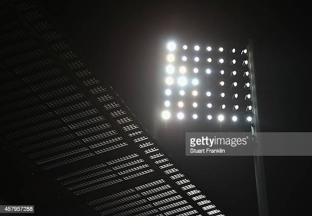 A view of the floodlights and roof of the Weserstadion during the Bundesliga match between SV Werder Bremen and 1 FC Koeln at Weserstadion on October...