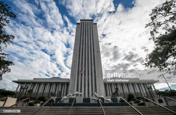 View of the Florida State Capitol building on November 10, 2018 in Tallahassee, Florida. Three close midtern election races for governor, senator,...