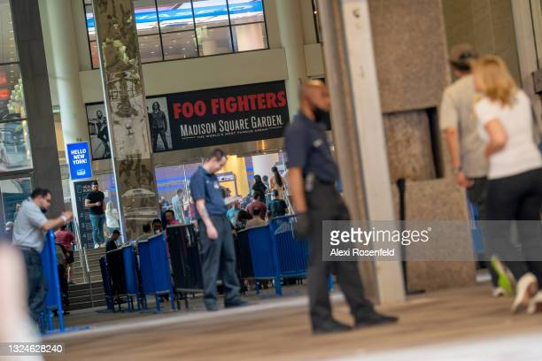 View of the Foo Fighters sign at the entrance to Madison Square Garden on June 20, 2021 in New York City. The Foo Fighters concert is the first...