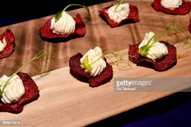 A view of the food on display during the Filmmakers Welcome Reception during the 2018 Sundance Film Festival at The Shop on January 18 2018 in Park...