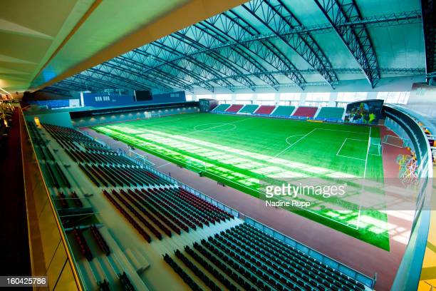View of the football pitch at indoor hall is taken at the ASPIRE Academy for Sports Excellence on January 6 2013 in Doha Qatar ASPIRE Zone also...