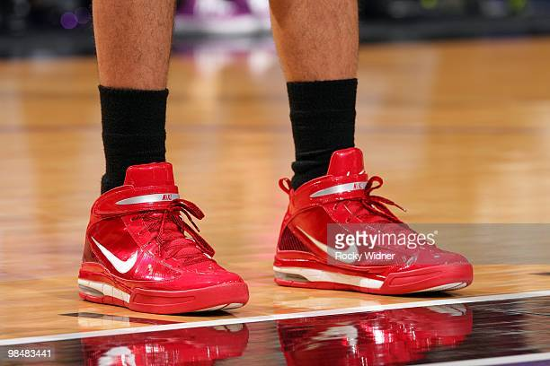 View of the footwear worn by Brandon Roy of the Portland Trail Blazers during the game against the Sacramento Kings at Arco Arena on April 3 2010 in...