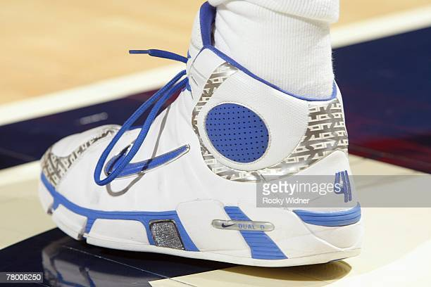 View of the footwear worn by Dirk Nowitzki of the Dallas Mavericks during the game against the Golden State Warriors at Oracle Arena on November 8...