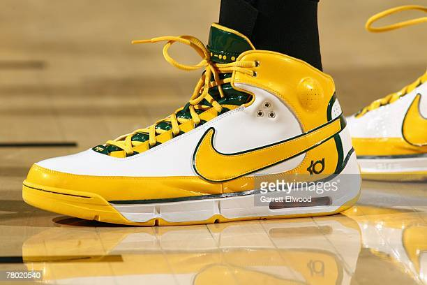 View of the footwear worn by Kevin Durant of the Seattle SuperSonics during the game against the Phoenix Suns at Key Arena on November 1 2007 in...