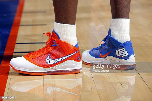 View of the footwear worn by LeBron James of the Cleveland Cavaliers during the game against the Golden State Warriors at Oracle Arena on January 11...