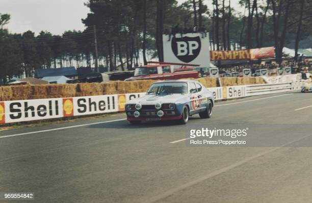 View of the Ford Motor Company Deutschland Ford Capri 2600RS racing car driven by Dieter Glemser of West Germany and Alex SolerRoig of Spain...