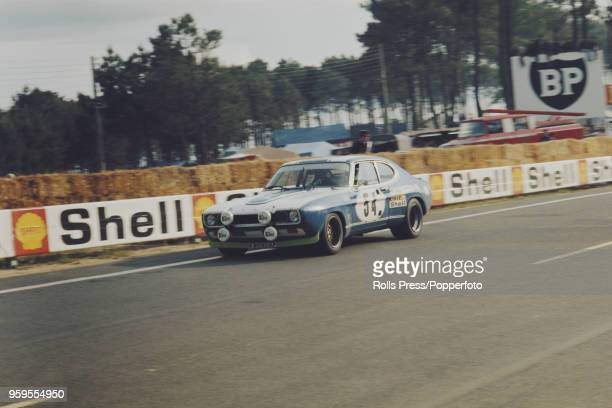 View of the Ford Motor Company Deutschland Ford Capri 2600RS racing car driven by Gerry Birrell of Great Britain and Claude Bourgoignie of Belgium...