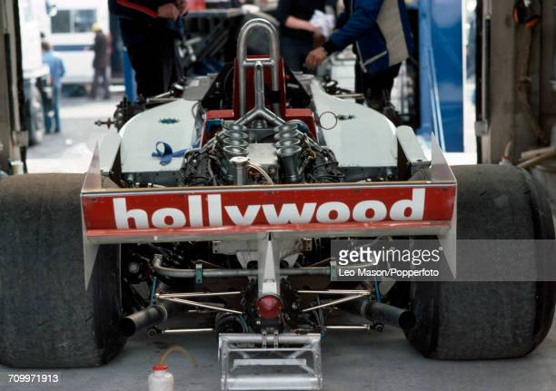 View of the Formula One car which Alex Ribeiro of Brazil drove for Hollywood March Racing, a March 761B with a Cosworth V8 engine during the Race of...