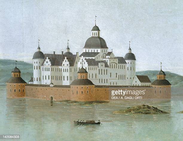 View of the fortified castle of Kalmar Sweden 17th century Watercolour