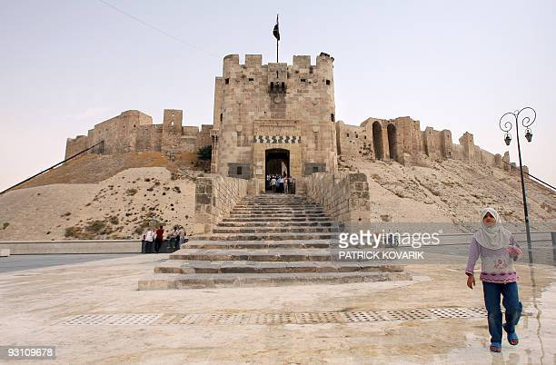 View of the fortified entrance and the outer gate of the Citadel of Aleppo on August 28 2008 in the centre of the old city of Aleppo northern Syria...