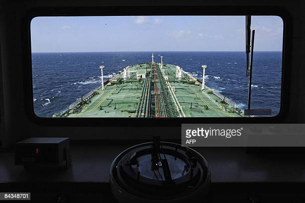 A view of the forward deck of french super tanker Front Comanche is seen in the Gulf of Aden off the Somali coast Last month UN Security Council...
