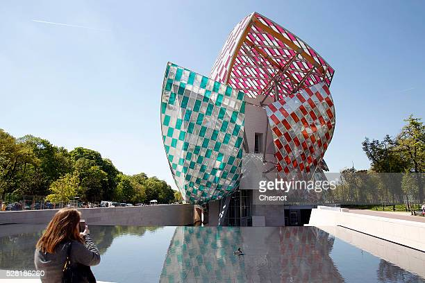 A view of the Foundation Louis Vuitton covered by an temporary art work entitled 'Observatory of Light Work in Situ' by French artist Daniel Buren on...
