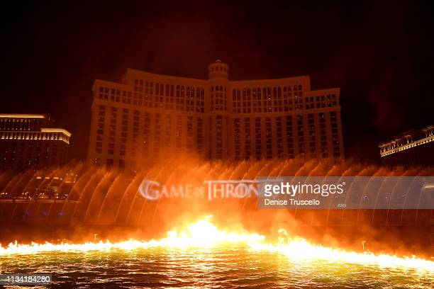 A view of The Fountains of Bellagio during HBO MGM Resorts and WET Design debut of the exclusive Game of Thrones production running twice nightly at...