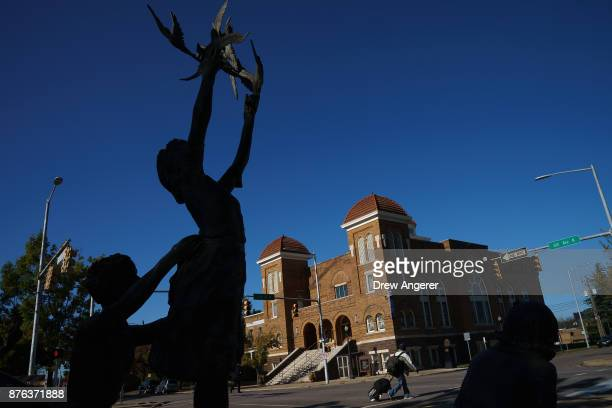A view of the 'Four Spirits' statue and the 16th Street Baptist Church November 19 2017 in Birmingham Alabama The statues memorialize the four...