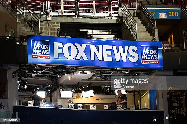 A view of the Fox News booth ahead of the Democratic National Convention at the Wells Fargo Center July 24 2016 in Philadelphia Pennsylvania The...