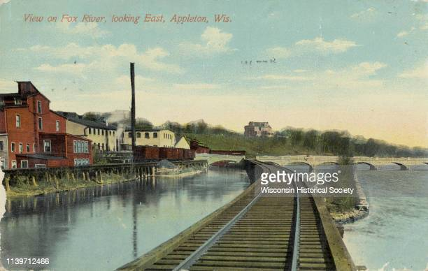 View of the Fox River, looking east, from railroad tracks, Appleton, Wisconsin, 1915.
