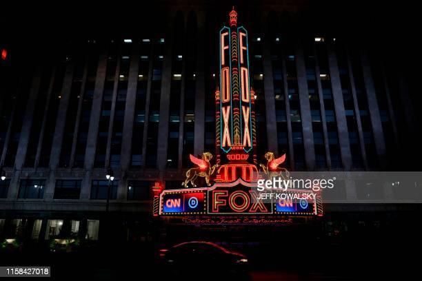 View of the Fox Theatre building in Detroit, Michigan on July 29, 2019. - Democrat presidential candidates will debate in Detroit on July 30-31. The...