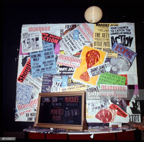 View of the foyer and entrance to the Marquee Club with various concert posters on display in Wardour Street London in 1967