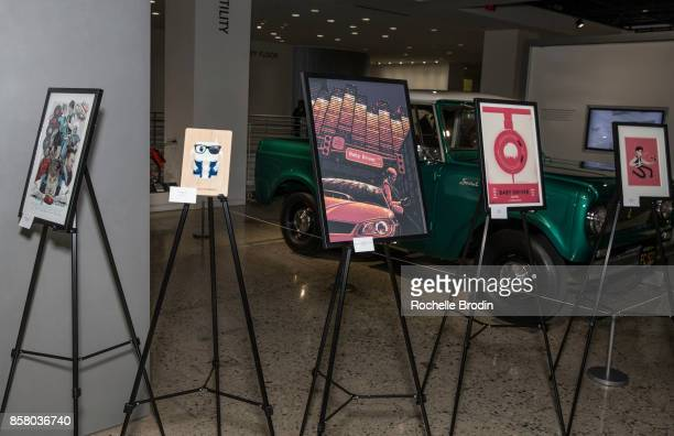 A view of the framed illustations by fans from Art Gallery 1988 at the Cars Arts Beats A Night Out With 'Baby Driver' event at the Petersen...