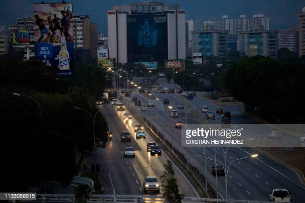 View of the Francisco Fajardo highway showing a sector without light during a power outage in Caracas Venezuela on March 26 two weeks after a similar...