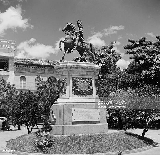 A view of the Francisco Morazan statue at the Central Plaza in Tegucigalpa Honduras