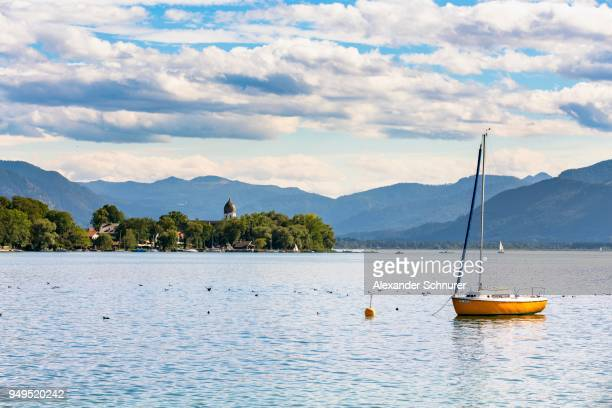 View of the Fraueninsel, Gstadt, Chiemsee, Bavaria, Germany