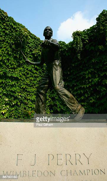 View of the Fred Perry statue on Day Ten of the Wimbledon Lawn Tennis Championships at the All England Lawn Tennis and Croquet Club on July 2, 2009...