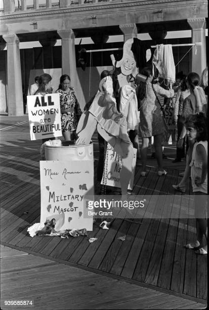 View of the 'Freedom Trash Can' on the Atlantic City Boardwalk during a protest against the Miss America beauty pageant Atlantic City New Jersey...