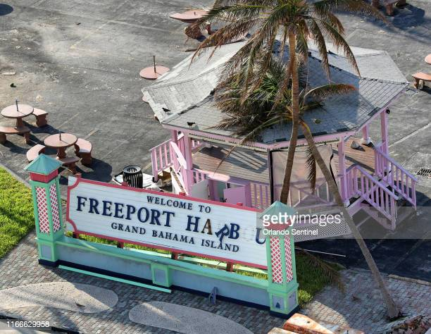A view of the Freeport Harbour's welcome sign as seen from the Royal Caribbean's Mariner of the Seas cruise ship after arriving in Freeport Bahamas...