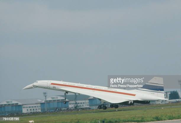 View of the French built AngloFrench Concorde 001 FWTSS prototype supersonic aircraft coming in to land at Le Bourget Airport during a visit to the...