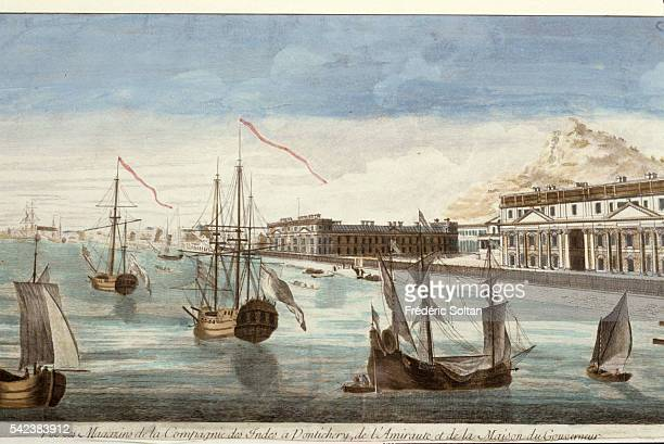 View of the French East India Company warehouses in the port of Pondicherry | Location Union Territory of Pondicherry India