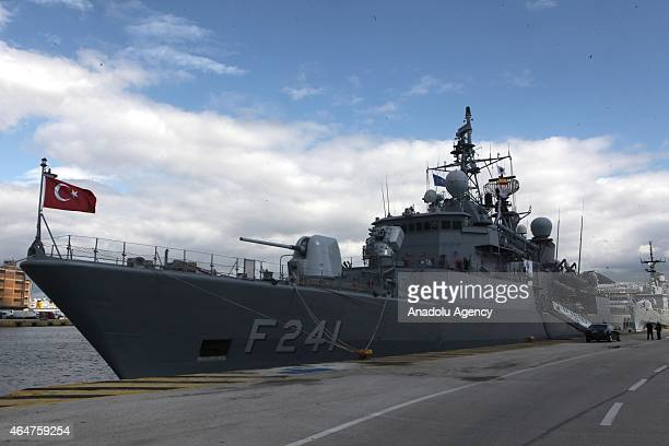 A view of the frigate TCG Turgut Reis which completed its thousandth journey in Athens Greece on February 28 2015 The frigate TCG Turgut Reis which...