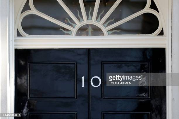 A view of the front door of 10 Downing street in central London on May 24 2019 Beleaguered British Prime Minister Theresa May is expected to announce...