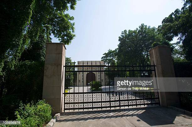 View of the front entrance gate of the Oberoi Vanyavilas hotel where where guests of Russell Brand and Katy Perry are believed to be staying on...