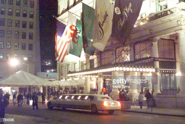 A view of the front entrance of the Plaza Hotel during the wedding of Michael Douglas and Catherine ZetaJones November 18 2000 in New York City