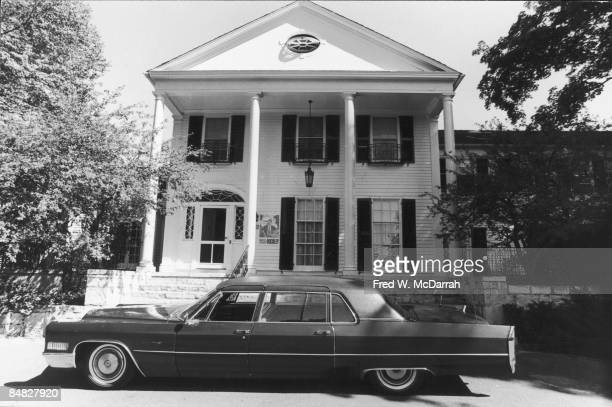 View of the front of an estate owned by author and critic William F Buckley Jr during the tenth anniversary of Young Americans for Freedom a...