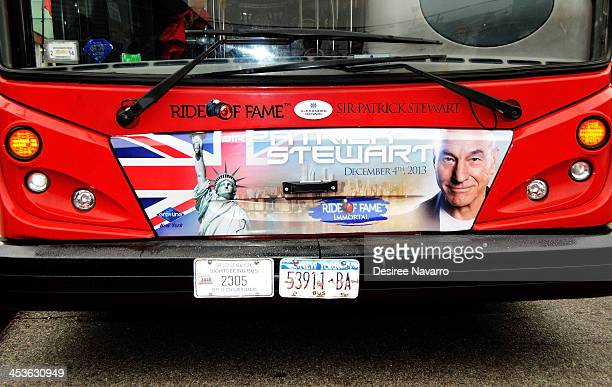 """View of the front of the bus as Sir Patrick Stewart attends the Gray Line NYC """"Ride Of Fame"""" induction ceremony for Patrick Stewart at Pier 78 on..."""