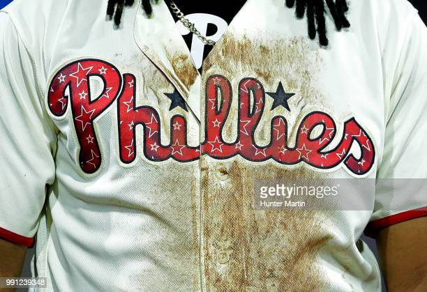 A view of the front of the special edition 4th of July jersey worn by Maikel Franco of the Philadelphia Phillies during a game against the Baltimore...