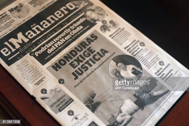 View of the front page of Mexican newspaper El Mananero with the news of Honduran cameraman Edwin Rivera's murder in Acayucan Veracruz State Mexico...