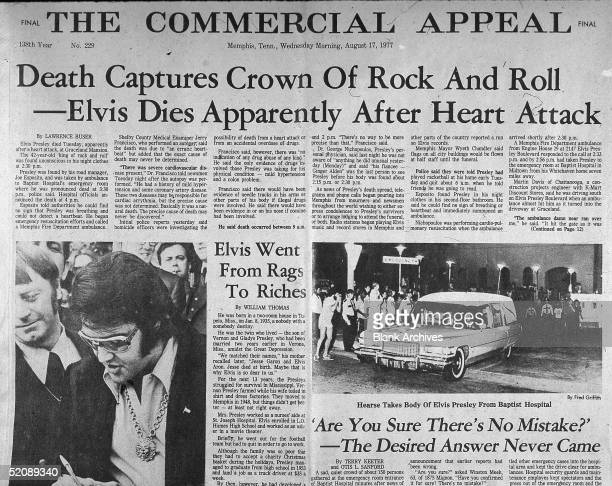 View of the front page of the Commercial Appeal newspaper the day after the death of American rock and roll singer Elvis Presley Memphis Tennessee...
