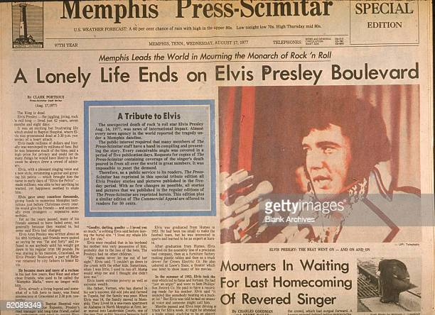 View of the front page of the Memphis PressScimitar newspaper the day after the death of American rock and roll singer Elvis Presley Memphis...