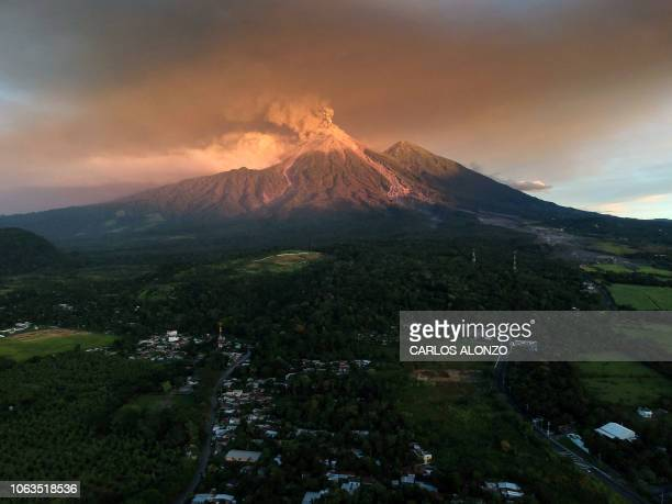 A view of the Fuego Volcano erupting as seen from Escuintla Guatemala on November 19 2018 Guatemalan authorities on Monday declared a red alert after...