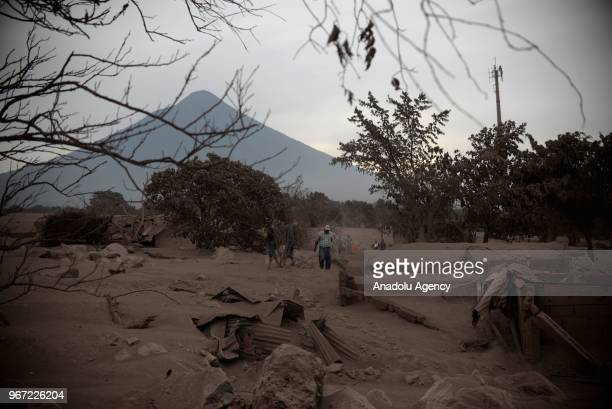 A view of the Fuego volcano is seen from the community of San Miguel Los Lotes in Escuintla Guatemala on June 04 2018 At least 25 people were killed...