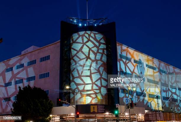 View of the fully restored 1939 Iconic building facade at the Academy Museum of Motion Pictures' future home one Wilshire and Fairfax during the...