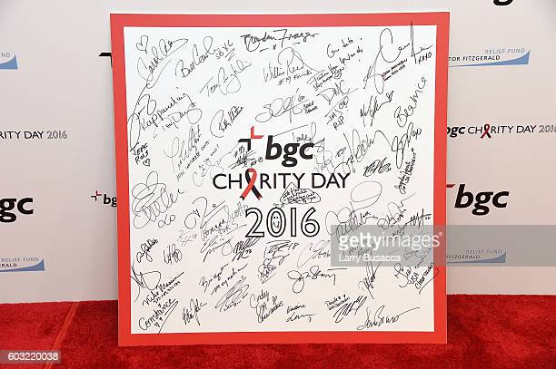 A view of the fully signed Charity Day signature board at the Annual Charity Day hosted by Cantor Fitzgerald BGC and GFI at BGC Partners INC on...