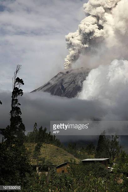 View of the fumarole of the Tungurahua volcano in Penipe south Ecuador as authorities put the country on high alert over a possible major eruption of...