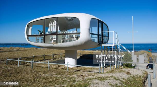 View of the futuristic rescue tower designed in the 1970s in the Baltic Sea resort Binz on the island of Ruegen Germany 11 March 2014 The...