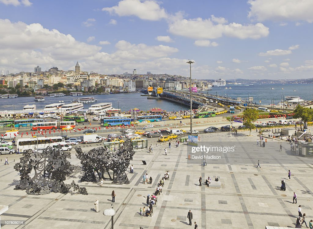 View of the Galata Bridge across the Golden Horn. : Stock Photo