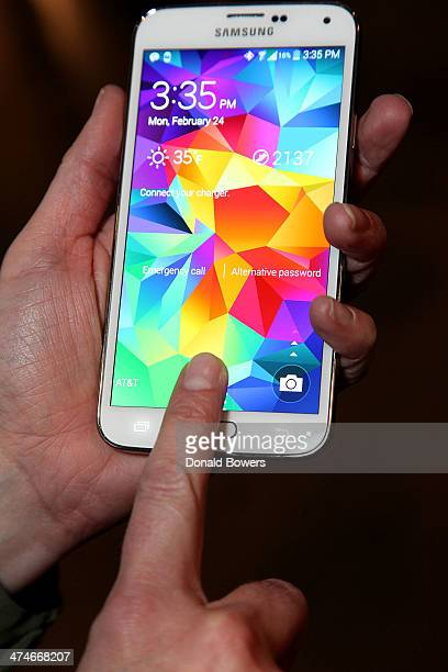 A view of the Galaxy S 5 fingerprint sensor at the Unpacked New York Galaxy S 5 Gear 2 Gear 2 Neo and Gear Fit event at Samsung Galaxy Studio on...